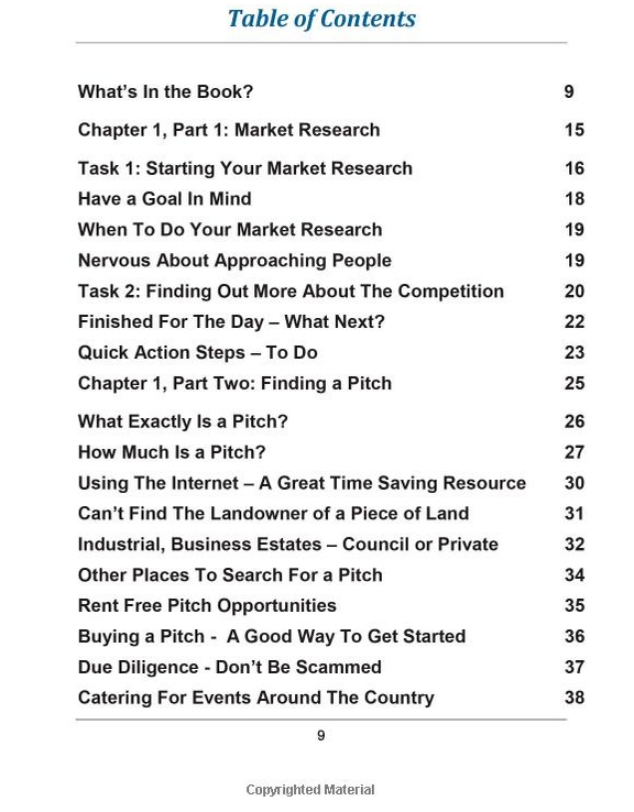 start mobile catering Table of Contents 1